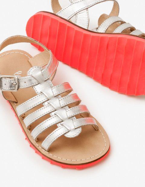 ee28cb522d8e Mini boden Leather Gladiator Sandals in Silver Metallic