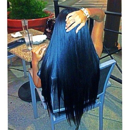 long black hair soon soon soon blue tint