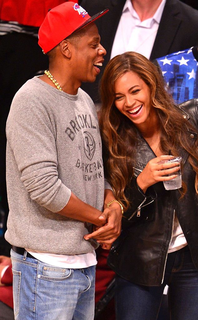 The superstar couple laughs it up at the Toronto Raptors vs Brooklyn Nets game at Barclays Center in New York City.