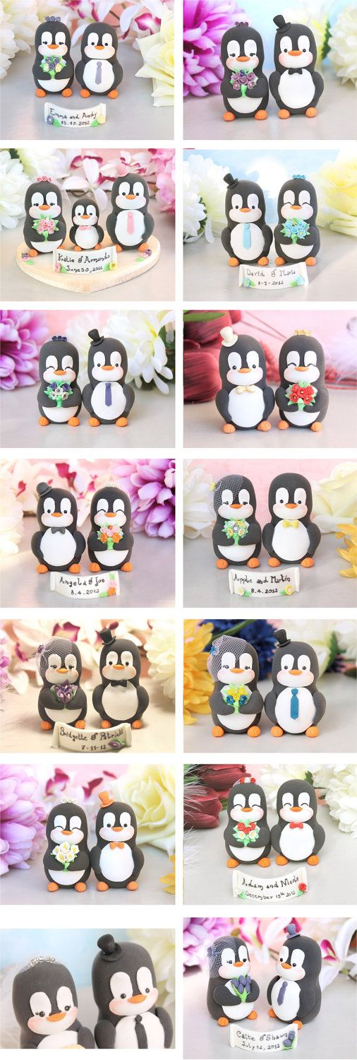 Custom Penguin wedding cake toppers - bride and groom personalized elegant love bird