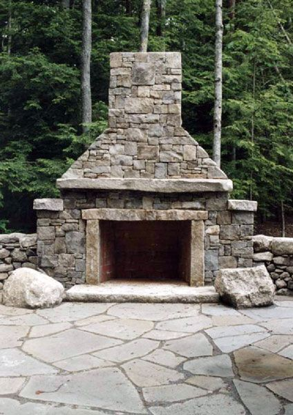 how to build a outdoor stone fireplace and chimney
