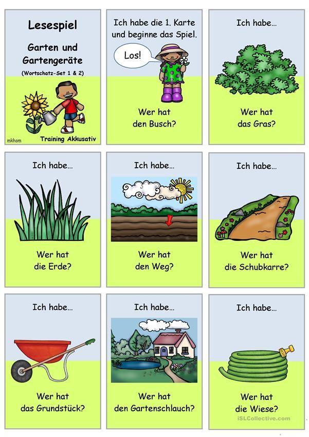 Lesespiel 1 Garten Und Gartengerate Ich Habe Wer Hat Set 1 2 Lesespiele Daf Lehrer Lesen