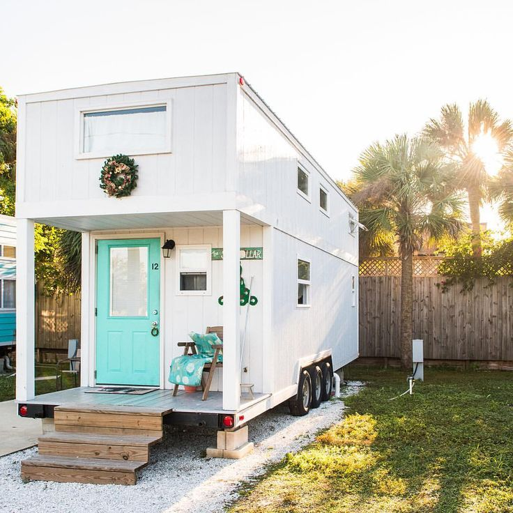 Beach Cottage Exterior, Tiny House Exterior, House Exteriors, Mobile Home,  Beach Cottages, Tiny Houses, Instagram Repost, Tiny Living, Small Spaces