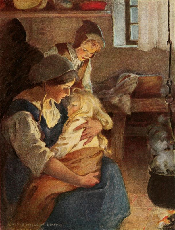 "Illustration by Jessie Willcox Smith for The Princess and the Goblin by George MacDonald. ""There sat his mother by the fire, and in her arms lay the princess fast asleep."""