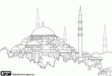 The Hagia Sophia or the Holy Wisdom in Istanbul, Turkey. One of the most important works of Byzantine architecture coloring page