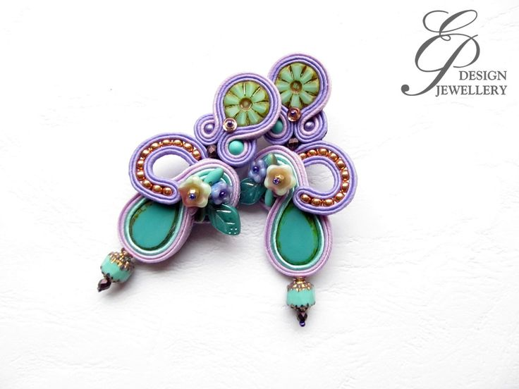Long soutache earrings turquoise and lilac soutache earrings, high fashion statement ear clips, unique art jewelry, christmas gift for her by EditBeadIt on Etsy