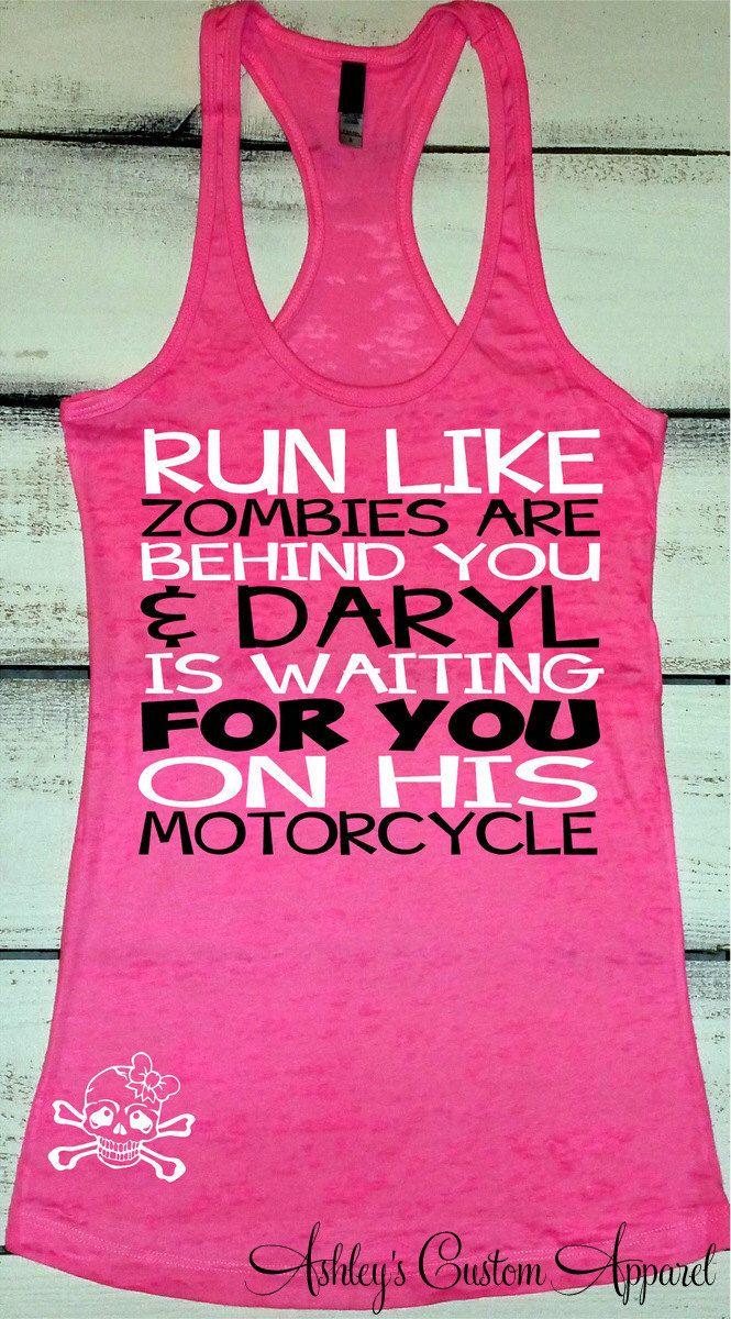 Women's Workout Tank, Funny Workout Shirt, Zombie Shirt, Fitness Burnout, Zombie Apocalypse, Daryl Shirts, Funny Running Shirt, Inspiration by AshleysCustomApparel on Etsy https://www.etsy.com/listing/268047520/womens-workout-tank-funny-workout-shirt