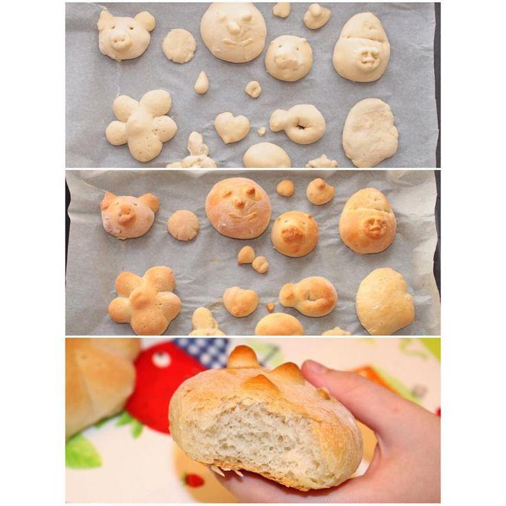 Очередной рецептик для детей. На этот раз делаем фигурный хлеб. Он легок в приготовлении, вкусный, а детям наверняка понравится лепить хлебные фигурки, а потом их есть! :) 🍞🍞🍞 ✅Берем: 1 пакетик сухих дрожжей (11 гр) 1 чайная ложка сахара 1 чайная ложка соли 230 мл теплой воды 500 гр муки 1 столовая ложка растительного масла ✅Выливаем в емкость теплую воду, добавляем сахар и дрожжи. Перемешиваем. ✅  Дальше добавляем 200 гр муки, хорошо перемешиваем и добавляем масло и соль. ✅  Дальше…
