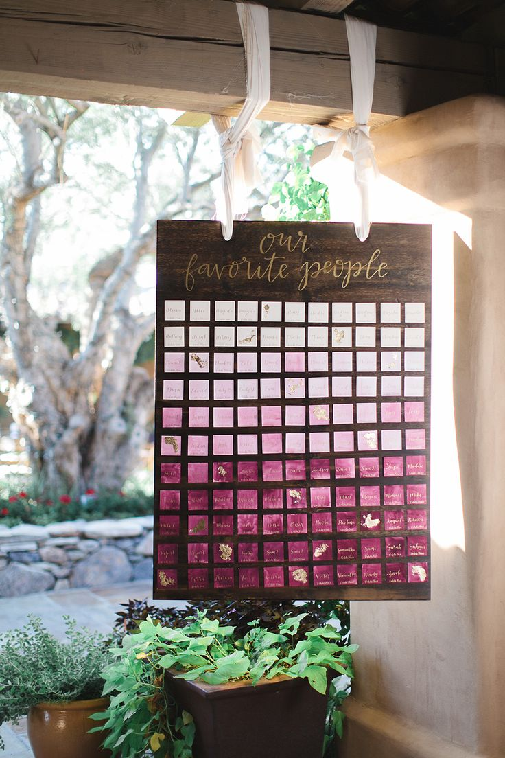 painted escort cards - photo by Andrew Jade Photography http://ruffledblog.com/light-and-airy-garden-party-wedding