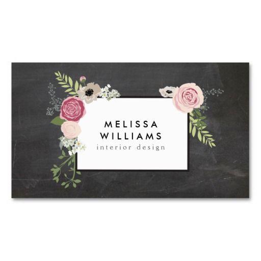 Vintage Modern Floral Motif on Chalkboard Designer Double-Sided Standard Business Cards (Pack Of 100)