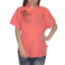 Womens Harley Davidson Button Down Short Sleeve Shirt / Blouse - Orange Red