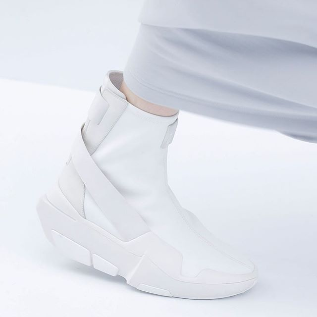 The Y-3 Mira Boot in white as seen at the Y-3 S/S17 Fashion Week show. #adidas…