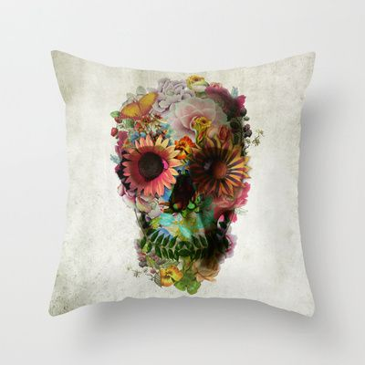 [Floral Skull Cushion  by Society6 $20] Such a fun-alternative accent. Edgy but a lil feminine too.