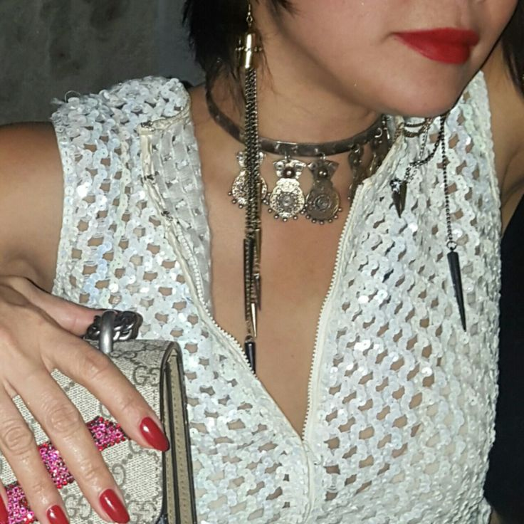 About last night - Wearing our Long Chain of Spike Dangling Earring and the Filigree Tribal Choker