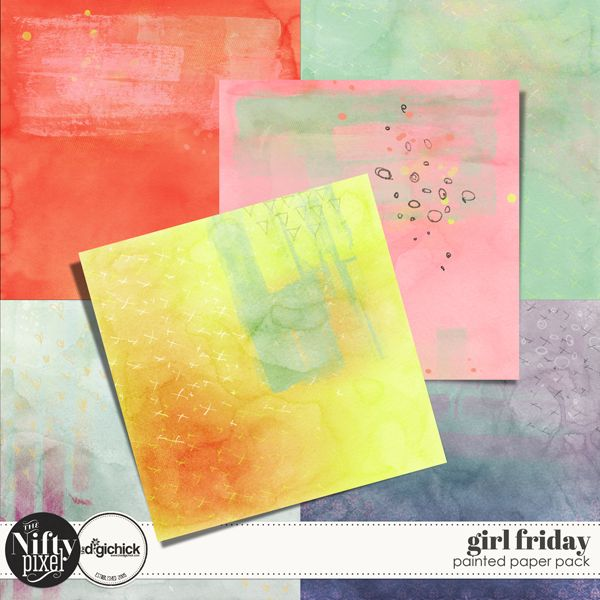 "Girl Friday Painted Paper Pack  Oh how I love this fun paper pack! These bold and bright painted beauties are a fun add-on for the 'Girl Friday' kit. They are perfect for AJ or mixed media style projects or to add some textured backgrounds to your traditional scrapbook pages.  PACK INCLUDES:  6X Specialty Papers (12"" X 12"") All products are saved at 300ppi for optimum printing quality."