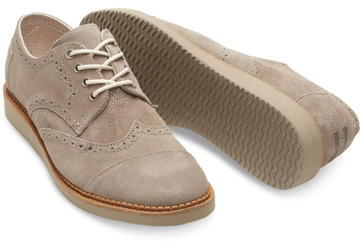 Toms Men's Brogue Desert Taupe Suede Leather