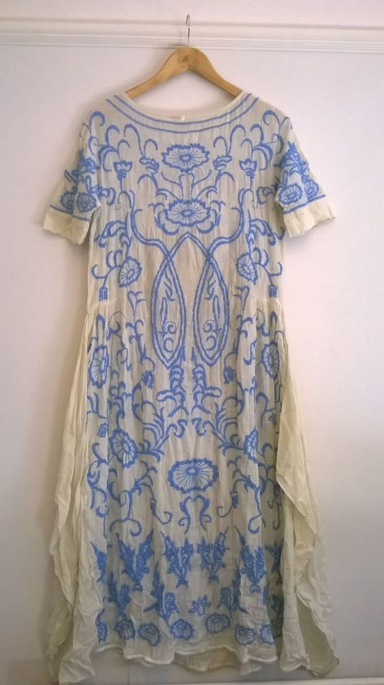 RARE! Free People Mexican Vintage Dress Cream & Blue Embroidered UK8/10 US…