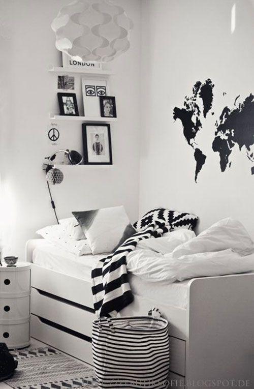 25 beste idee n over zwart witte kamers op pinterest zwart wit beddengoed zwart wit - Witte kamer en fushia ...