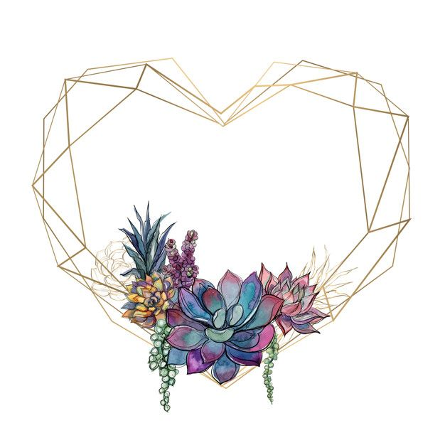 Gold heart frame with succulents Premium Vector