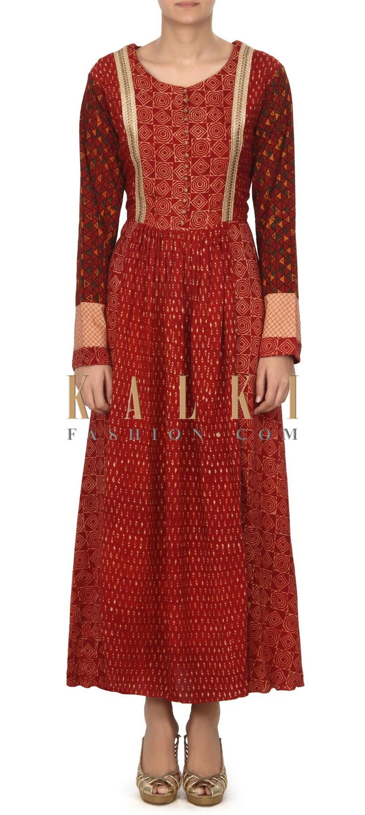 Buy this Maroon dress with fancy sequin lace only on Kalki