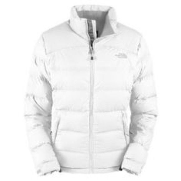 The Northface puffer white coat Really nice white puffer jacket, mid weight. Minor wear by neckline can be dry cleaned. The North Face Jackets & Coats Puffers