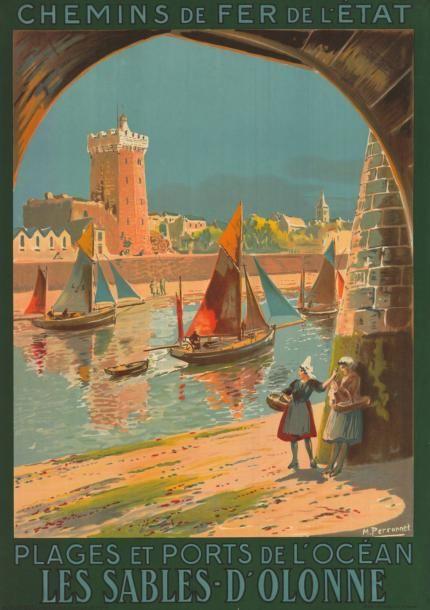 chemins de fer de l'état - Les Sables-d'Olonne - plages et ports de l'océan - illustration de Perronnet - 1928 - France -