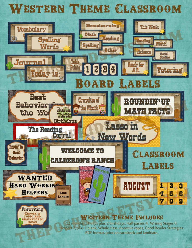 Back to School - Western Theme Classroom Labels. $25.00, via Etsy.