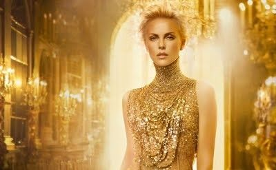Charlize Theron in gold for Dior J'Adore