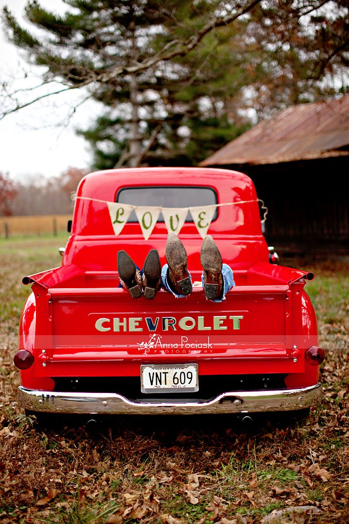 Red Chevy Pickup - Country Couples In Love cute engagement pic too.