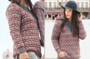 Вязаный трехцветный пуловер - это сочетание классического кроя и рельефного узора в виде сот образованного при помощи снятых петель.