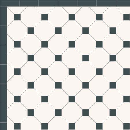 London Mosaic Victorian tile design: Octagon 150 - monochrome, traditional victorian, floor tiles octagon