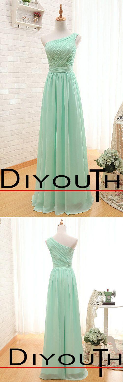 DIYouth.com One Shoulder Mint Green Floor-length Bridesmaid Dresses for Wedding, One Shoulder bridesmaid dresses, diyouth bridesmaid dresses