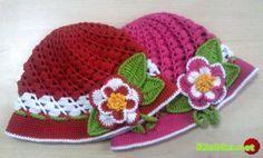 gehaakte muts - crochet hat (free Russian pattern)  Панамка крючком для девочки