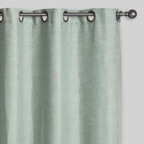 One of my favorite discoveries at WorldMarket.com: Aqua Linen Grommet Top Curtains, Set of 2