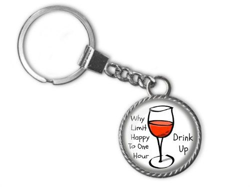 Wine Lovers Key Chain Wine Key Chain Happy Hour by Allthingsimages
