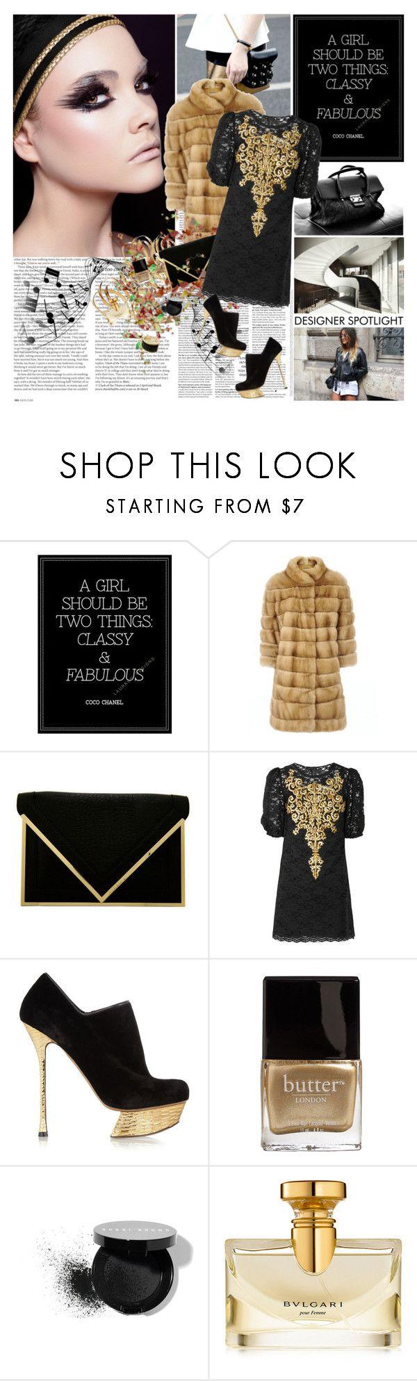 """TREND: GOLD and FUR"" by dani-elan ❤ liked on Polyvore featuring ASOS, Chanel, Armani Exchange, Dolce&Gabbana, Nicholas Kirkwood, Butter London, Bobbi Brown Cosmetics and Bulgari"
