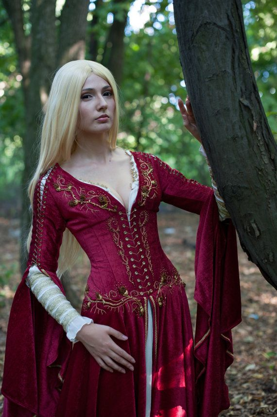 Medieval Fantasy Crimson Dress made to order by DressArtMystery