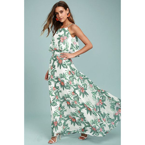 Evadne White and Teal Tropical Print Two-Piece Maxi Dress ($45) ❤ liked on Polyvore featuring dresses, white, teal maxi dress, two piece maxi dress, long white maxi skirt, maxi skirt and long maxi skirts