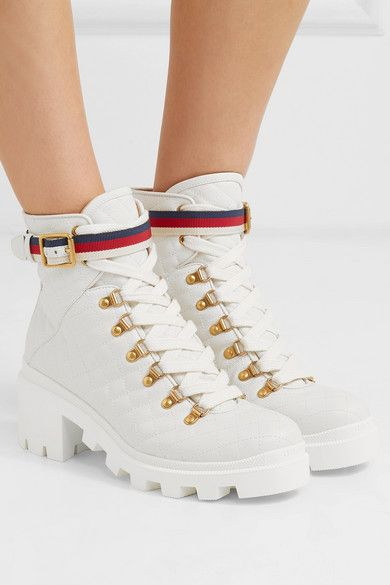 ec65e39a548 Gucci | Trip grosgrain-trimmed quilted leather ankle boots | NET-A ...