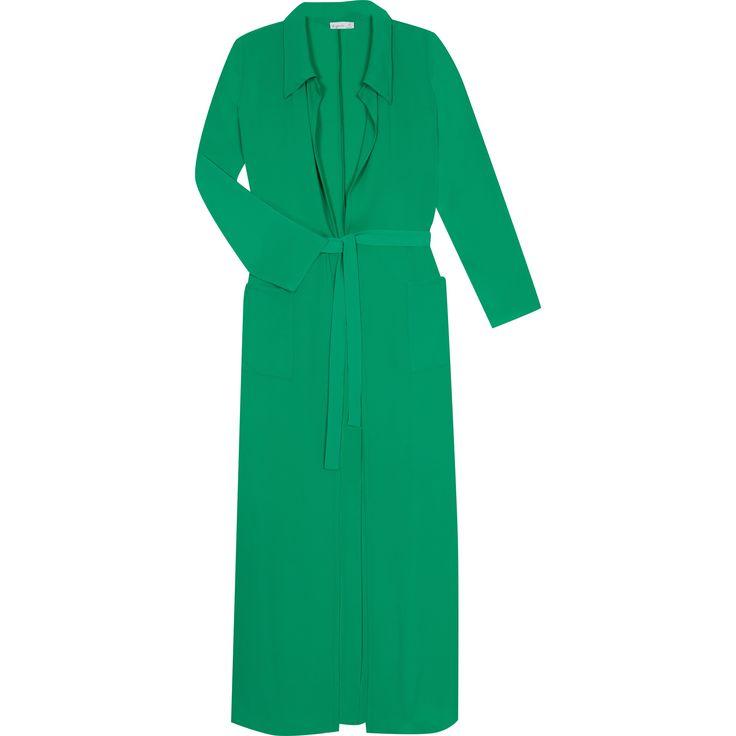 manteau edween vert le manteau Edween propose un porté très estival. Il est conçue en crêpe fluide. Son porté fluide et ample est agrémenté d'un col en pointe et d'une ceinture sous passants qui apporte une certaine structure à l'ensemble.