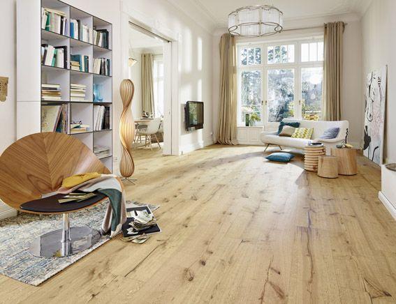LinduraHolzboden  HD 300  Eiche rustikal 8410  gebrstet  naturgelt  Wohnzimmer hell