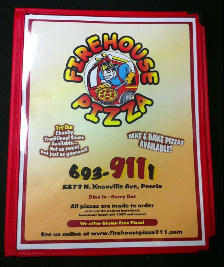 Front of the menu at Firehouse Pizza in Peoria, IL.  Kids eat free on MONDAYS & TUESDAYS when parents buy a $10 or more entree.