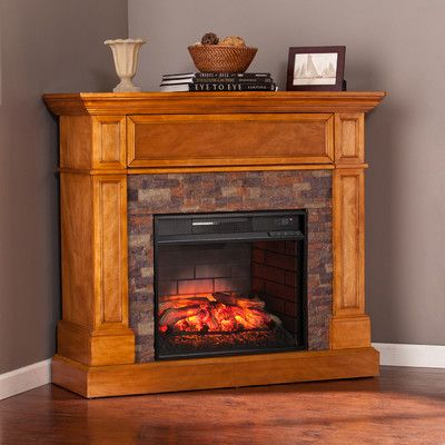 Wildon Home  Thornton Stone Look Convertible Infrared Media Electric Fireplace