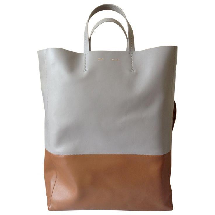 celine black mini luggage - Grey Leather Handbag Cabas