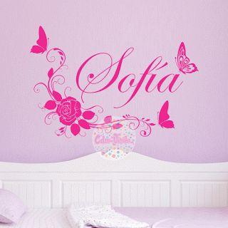 Vinilo decorativo para pared floral mariposas nombre cdm for Vinilos mariposas