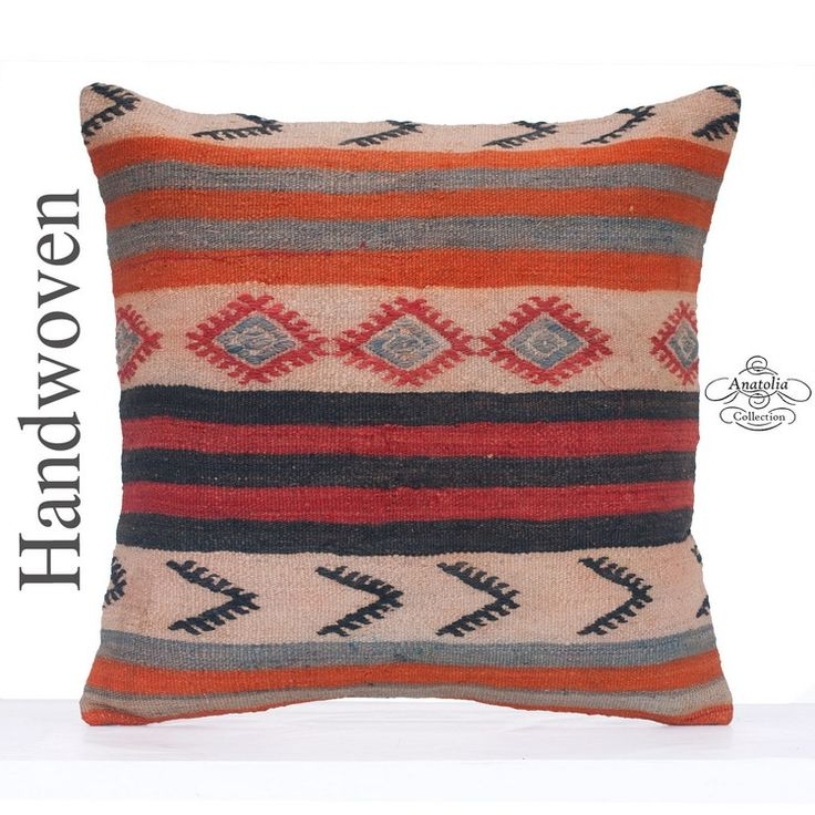 "Embroidered Large Pillow Cover 24x24"" Contemporary Kilim Rug Cushion"