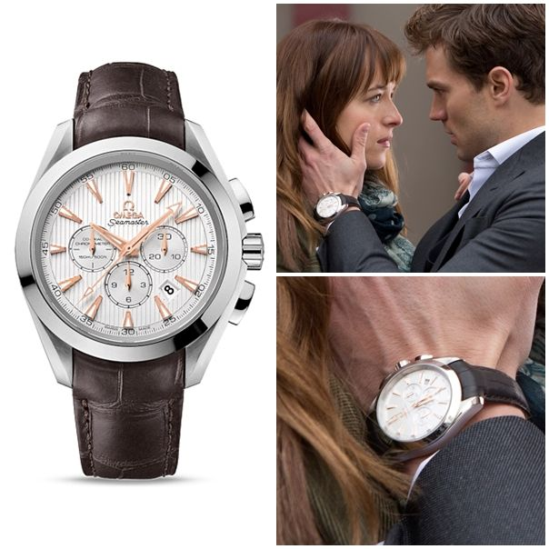 Christian Gray, as played by Jamie Dornan, in 50 Shades of Gray wears the  #OMEGA Watches Seamaster Aqua Terra 150M Co-Axial Chronograph with silver teak dial. Discover the collection at CH Premier Jewelers. #50ShadesOfGray #JamieDornan