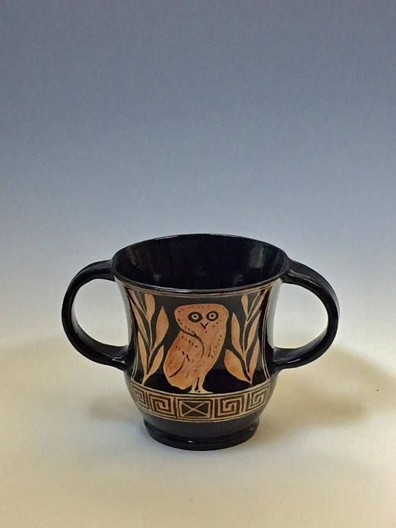 Ancient Greek Pottery Gift For Him Kantharos Owl Reproduction