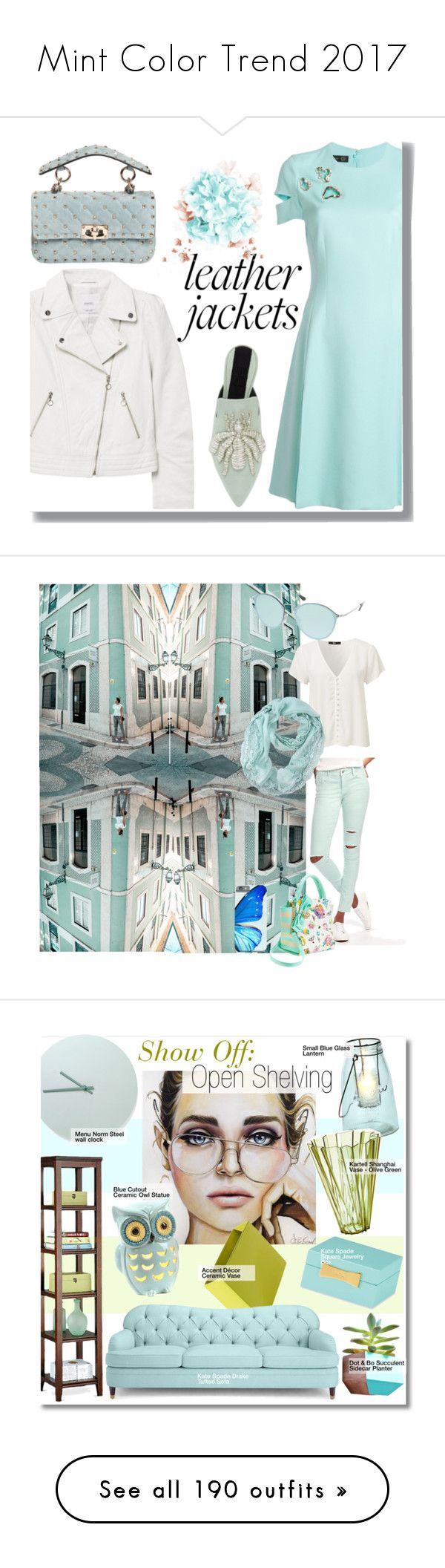 """""""Mint Color Trend 2017"""" by yours-styling-best-friend ❤ liked on Polyvore featuring Versace, MANGO, Sanayi 313, Valentino, Old Navy, Betsey Johnson, Ray-Ban, interior, interiors and interior design"""