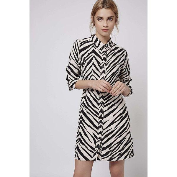 PETITE Zebra Print Shirt Dress (115 AUD) ❤ liked on Polyvore featuring dresses, petite dresses, zebra dresses, zebra print dresses, petite shirt dress and shirt dress